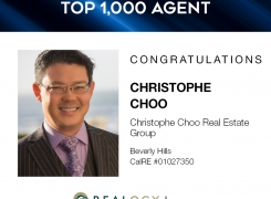 Christophe Choo with Coldwell Banker Global Luxury Real Estate Beverly Hills in the Top 1,000 Agents for the 1st Quarter 2021 for Realogy Brokerage Group