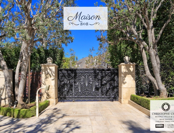 What lies behind the impressive gates at Maison 808 in Beverly Hills?